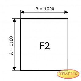 Kaminbodenplatte aus Klarglas, Form: F2