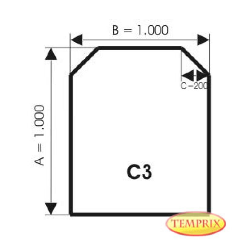 Bodenplatte, Edelstahl, Form: C3
