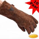Leatherbull, Hochwertige Kaminhandschuhe aus Leder, Farbe: Braun
