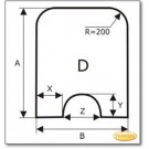 Funkenschutzplatte Wunschformat S5 mit rundem Ausschnitt, Glasbodenplatte, Kamin Bodenplatte Ice-Look