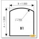 Kaminbodenplatte aus Braunglas, Form: B1
