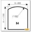 Kaminbodenplatte aus Braunglas, Form: B4