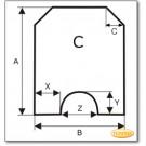 Funkenschutzplatte Wunschformat S5 mit rundem Ausschnitt, Glasbodenplatte, Kamin Bodenplatte aus Braunglas