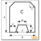 Funkenschutzplatte Wunschformat S6 mit trapezförmigem Ausschnitt, Glasbodenplatte, Kamin Bodenplatte aus Grauglas