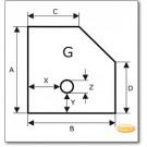 Funkenschutzplatte Wunschformat S4 mit Bohrung, Glasbodenplatte, Kamin Bodenplatte Im Ice-Look