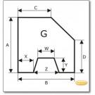 Funkenschutzplatte Wunschformat S6 mit trapezförmigem Ausschnitt, Glasbodenplatte, Kamin Bodenplatte aus Klarglas