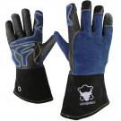 Leatherbull, Hochwertige Kaminhandschuhe aus Leder, Farbe: Blau