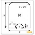 Funkenschutzplatte Wunschformat S5 mit rundem Ausschnitt, Glasbodenplatte, Kamin Bodenplatte aus Klarglas