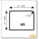 Kaminbodenplatte aus Grauglas, Form: M5