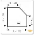 Kaminbodenplatte aus Ice Look Glas, Form: G2