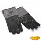 Hochwertige Kaminhandschuhe aus Leder, Farbe: Grau - Premium
