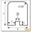 Funkenschutzplatte Wunschformat S2 mit eckigem Ausschnitt, Glasbodenplatte, Kamin Bodenplatte aus Grauglas