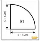 Kaminbodenplatte aus Klarglas, Form: K1