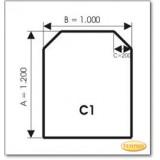 Kaminbodenplatte aus Braunglas, Form: C1
