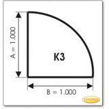Kaminbodenplatte aus Braunglas, Form: K3