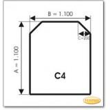 Kaminbodenplatte aus Grauglas, Form: C4