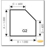 Kaminbodenplatte aus Grauglas, Form: G2