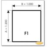 Kaminbodenplatte aus Grauglas, Form: F1