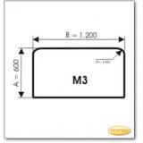 Kaminbodenplatte aus Braunglas, Form: M3