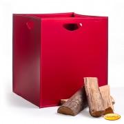Leder Holzkorb Modell Rosso Vanga